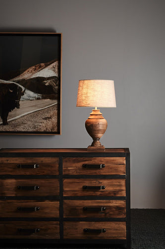 Amphora Small - Weather Barn - Turned Wood Urn Table Lamp