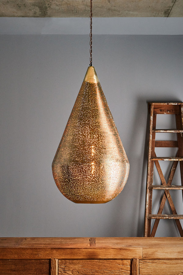 Aquarius Large - Brass - Perforated Teardrop Pendant Light