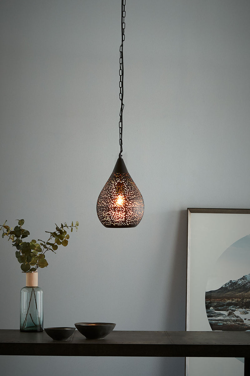 Aquarius Small - Black - Perforated Teardrop Pendant Light