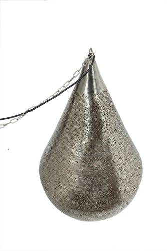 Aquarius Large - Nickel - Perforated Teardrop Pendant Light