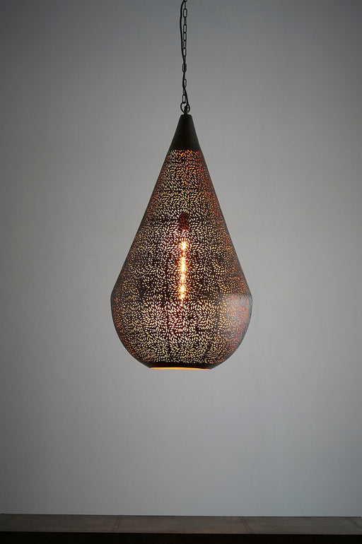 Aquarius Large - Black - Perforated Teardrop Pendant Light