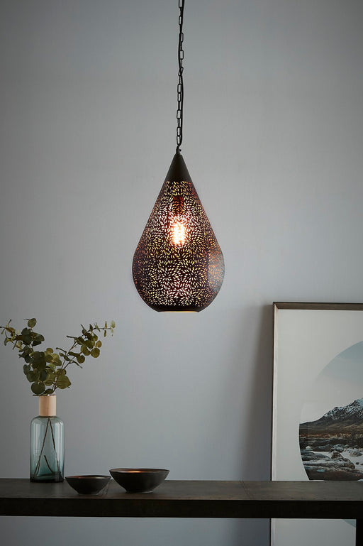 Aquarius Medium - Black - Perforated Teardrop Pendant Light