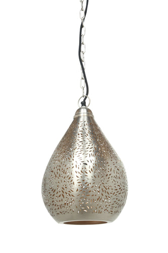 Aquarius Small - Nickel - Perforated Teardrop Pendant Light