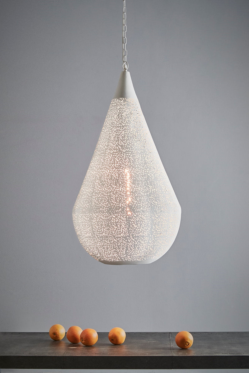 Aquarius Large - White - Perforated Teardrop Pendant Light
