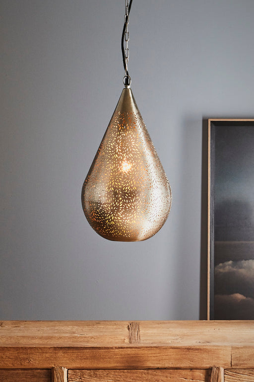 Aquarius Medium - Nickel - Perforated Teardrop Pendant Light
