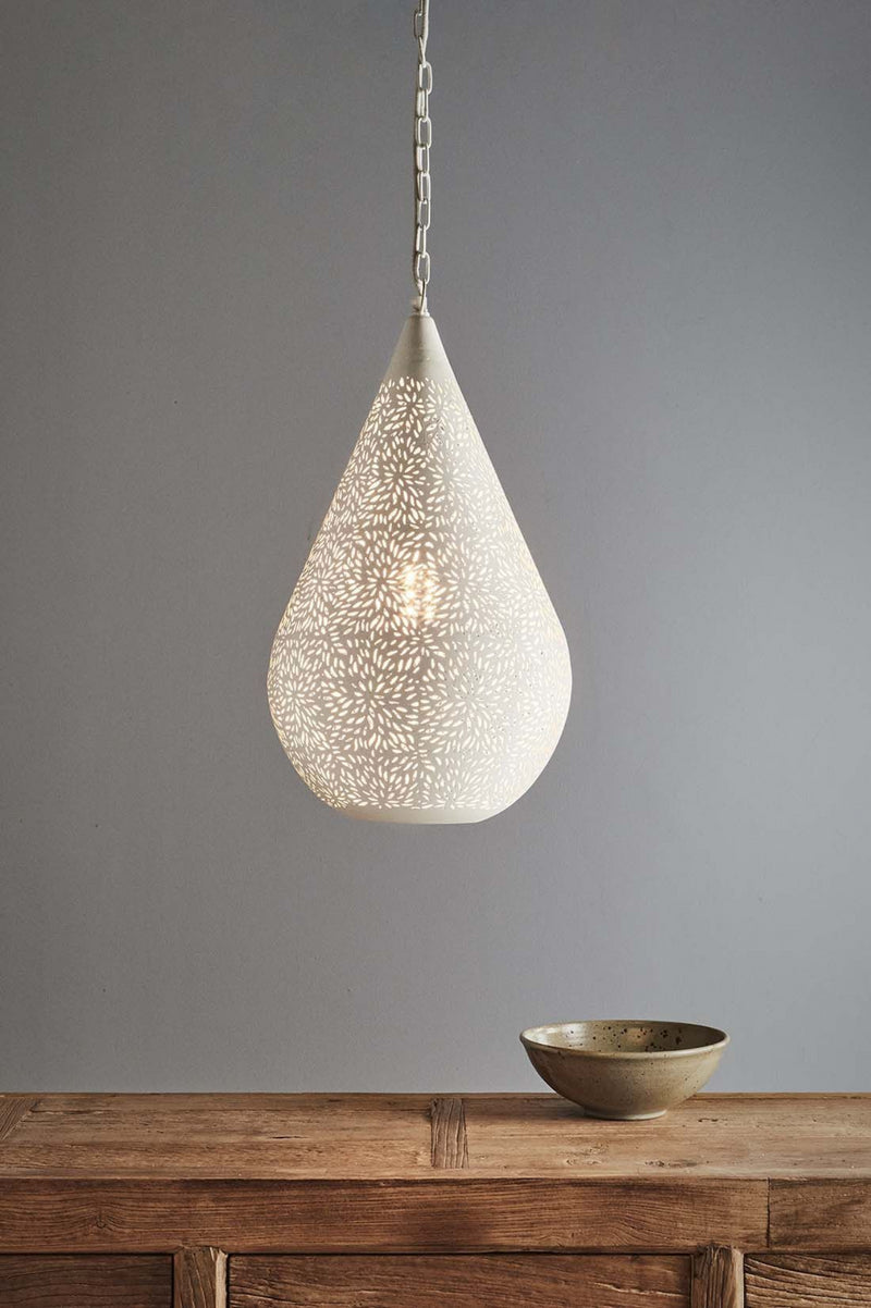 Aquarius Medium - White - Perforated Teardrop Pendant Light