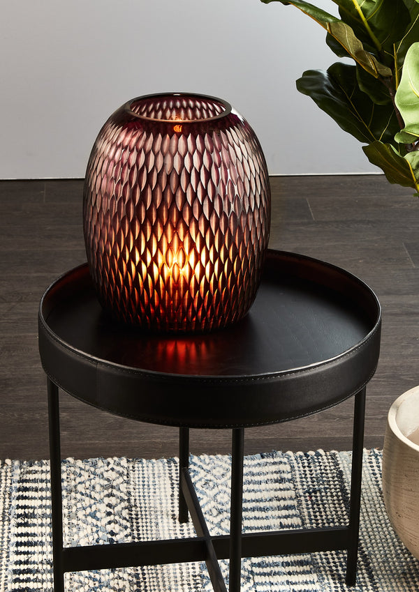 Belle - Red - Hand Cut Pod Art Glass Table Lamp
