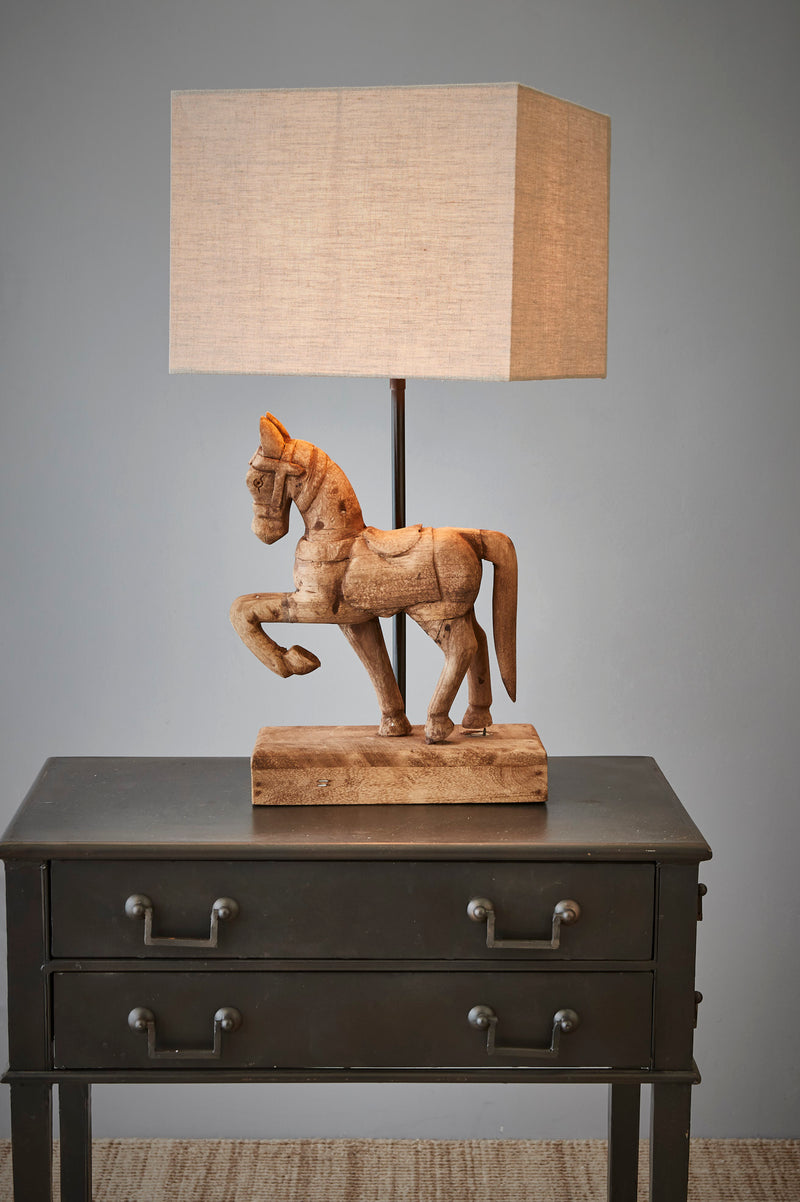 Bonnie - Dark Natural - Small Wooden Horse Table Lamp