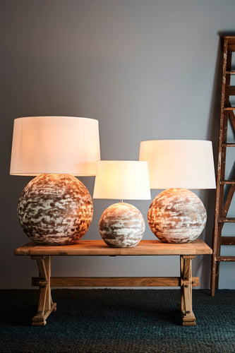 Boule Large - Distressed White - Turned Wood Ball Table Lamp