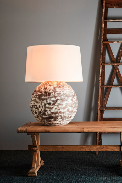 Boule Large - Barn White - Turned Wood Ball Table Lamp