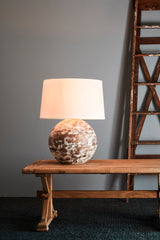 Boule Medium - Distressed White - Turned Wood Ball Table Lamp