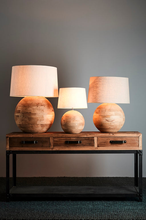 Boule Large - Natural - Turned Wood Ball Table Lamp
