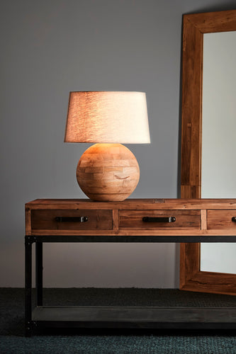 Boule Medium - Natural - Turned Wood Ball Table Lamp