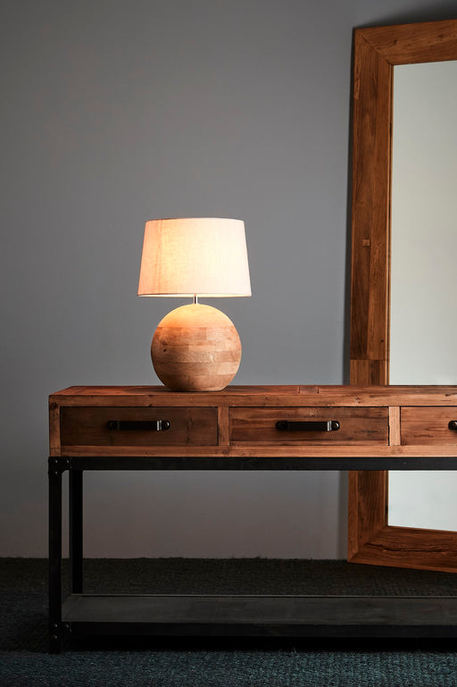 Boule Small - Natural - Turned Wood Ball Table Lamp