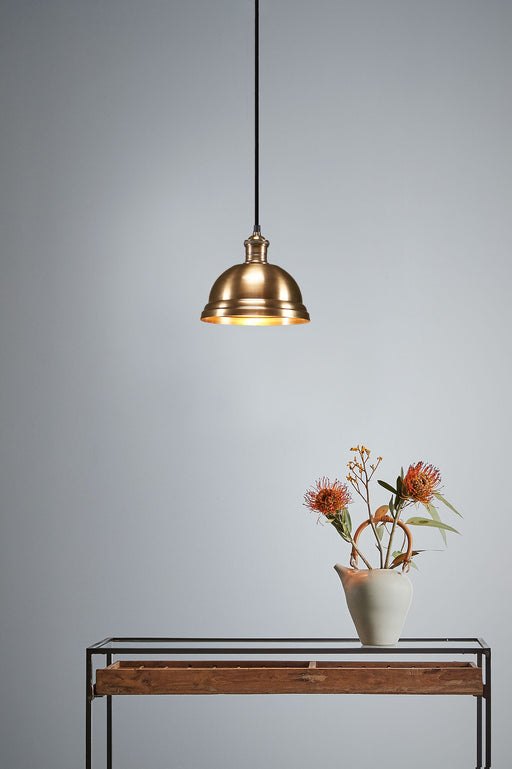 Bourke Medium - Antique Brass - Stepped Dome Pendant Light