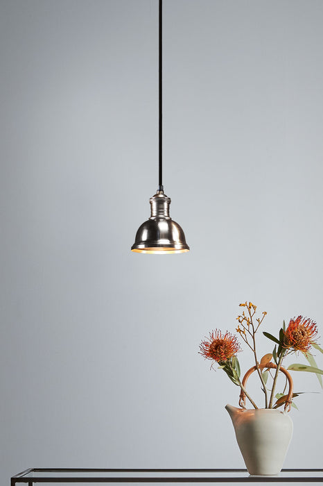 Bourke Small - Antique Silver - Stepped Dome Pendant Light