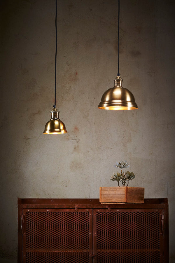 Bourke Small -  Antique Brass - Stepped Dome Pendant Light