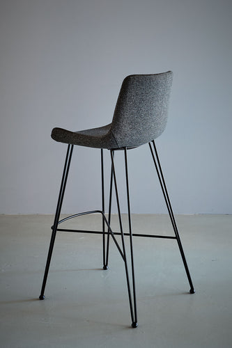 Brooklyn Bar Stool - Dark Grey/Black - Fabric Upholstered Bar Stool