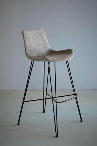 Brooklyn Bar Stool - Light Grey/Black - Fabric Upholstered Bar Stool