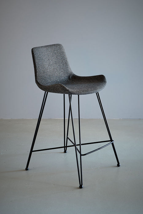 Brooklyn Kitchen Counter Stool - Dark Grey/Black - Fabric Upholstered Kitchen Counter Stool