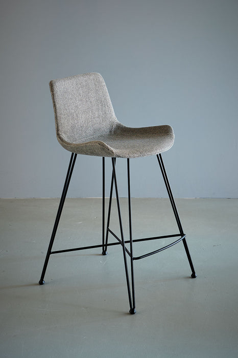 Brooklyn Kitchen Counter Stool - Light Grey/Black - Fabric Upholstered Kitchen Counter Stool