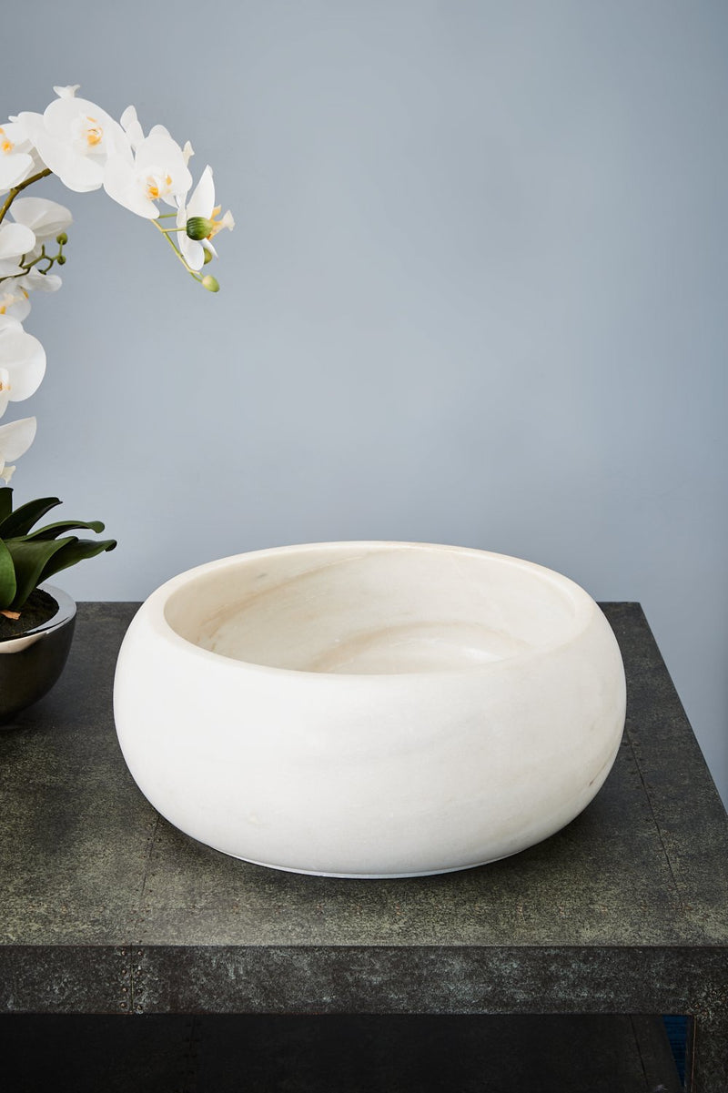 Jaipur Basin - White - Carved Marble Basin