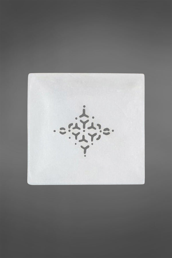 Jaipur Soap Dish Large - White - Square Marble Soap Dish with Grill