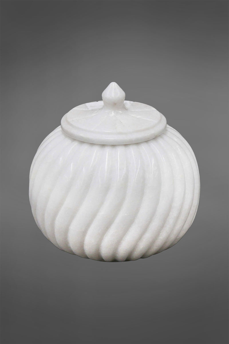 Carved Jar Large - White - Carved Ribbed Marble Jar with Lid