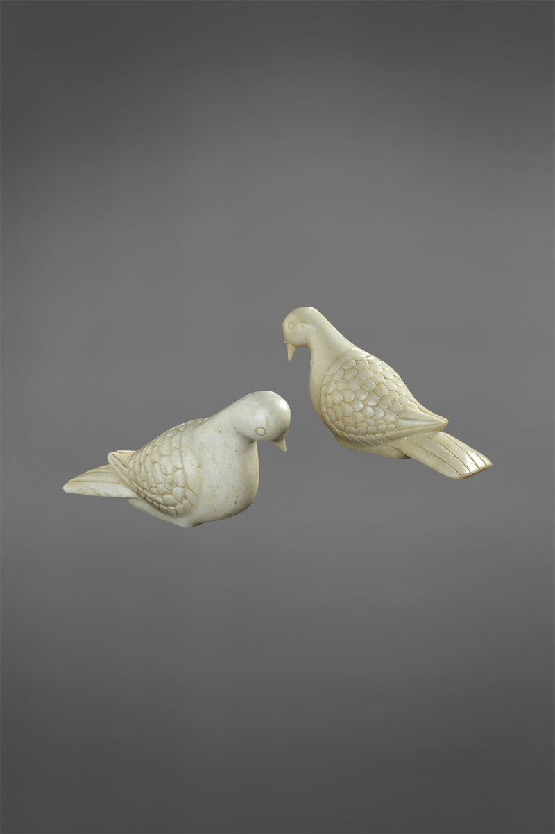 Jasmine Doves - White - Set of 2 Carved Marble Doves