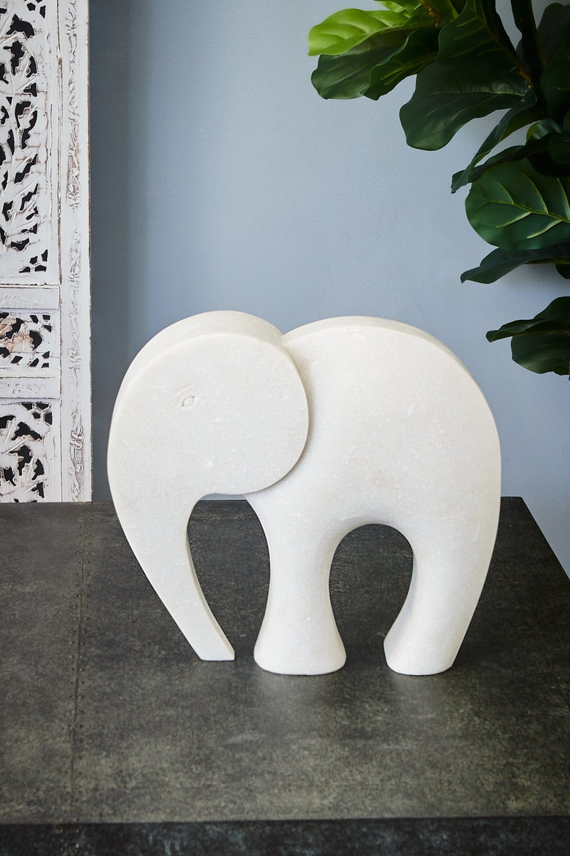 Elephant Large - White - Carved Marble Stylised Elephant