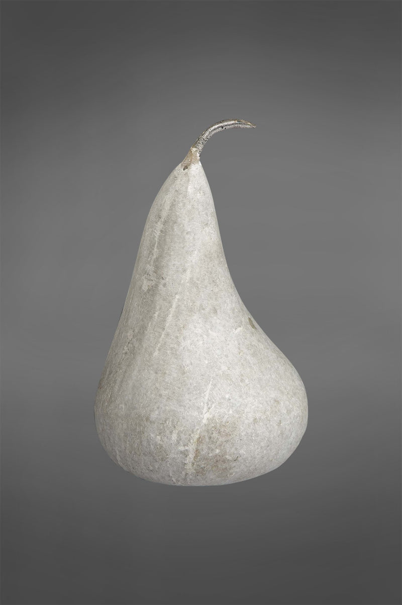 Pear Large - White - Carved Marble Pear