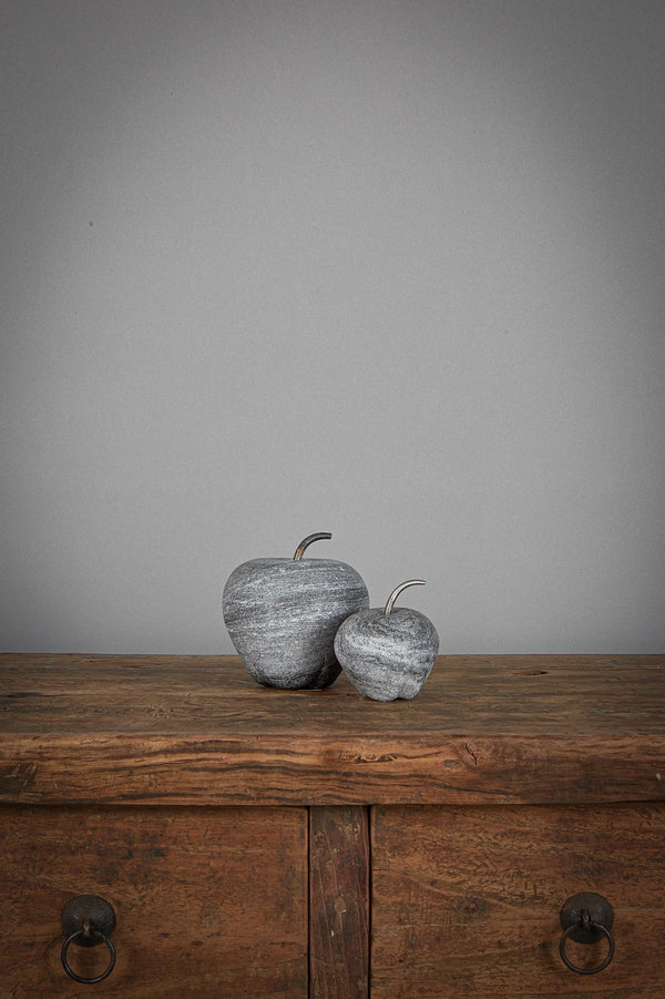 Apple Large - Black - Carved Marble Apple