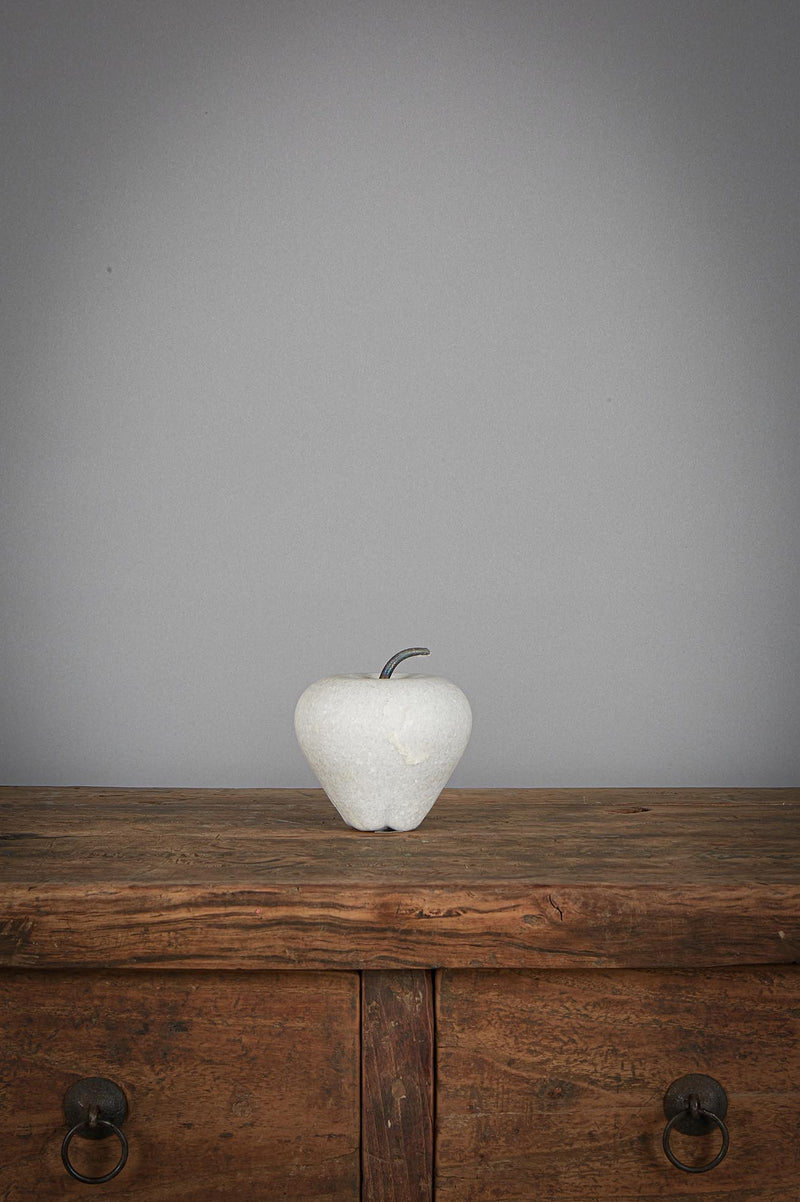 Apple Large - White - Carved Marble Apple