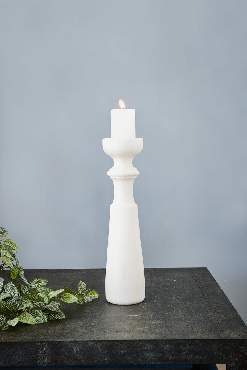 Jasmine Candlestick Extra Large - White - 46cm Tall Carved Marble Candlestick