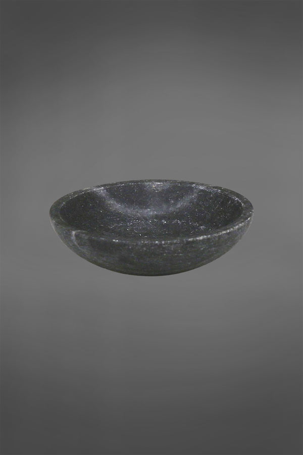 Agra Dish Small - Black - Round Carved Marble Dish