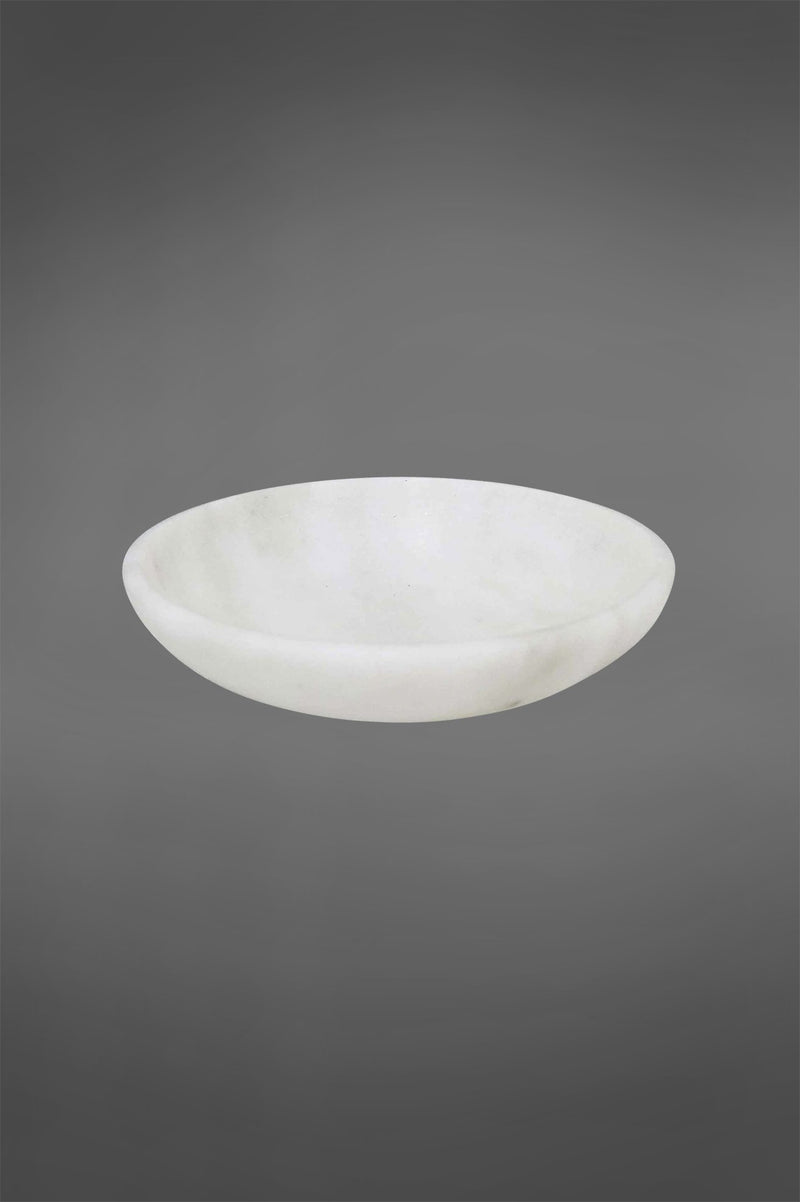 Agra Dish Small - White - Round Carved Marble Dish