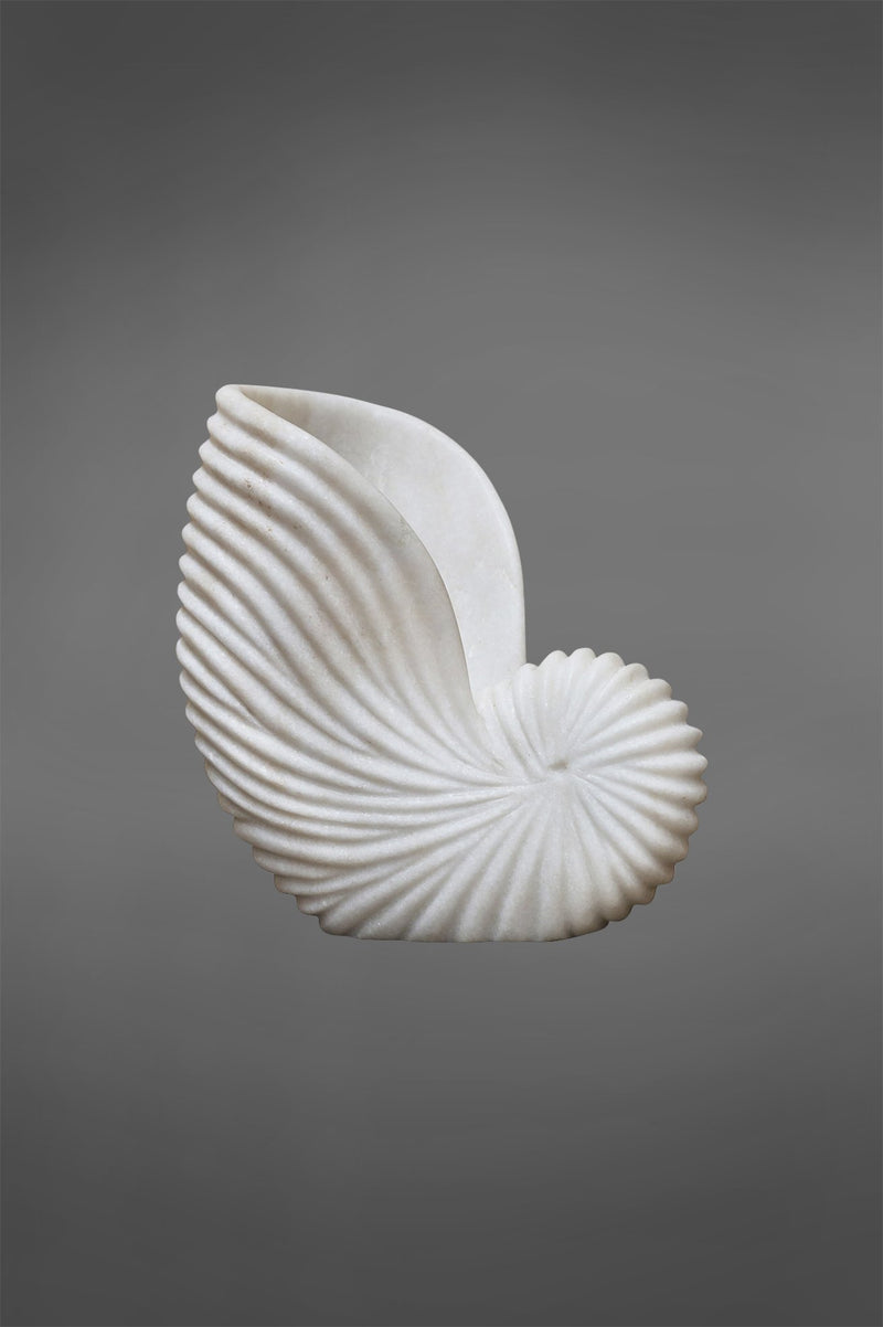 Conch Shell Large - White - Carved Marble Shell