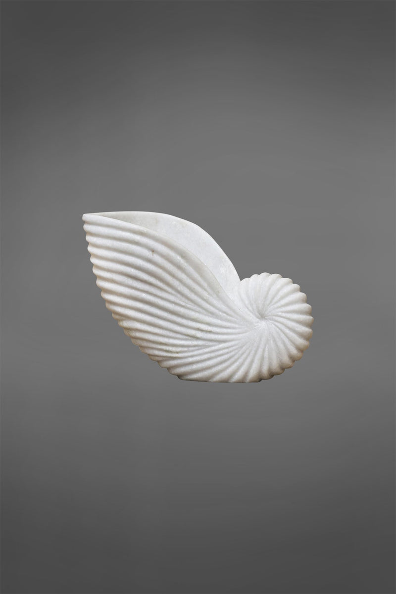 Conch Shell Medium - White - Carved Marble Shell