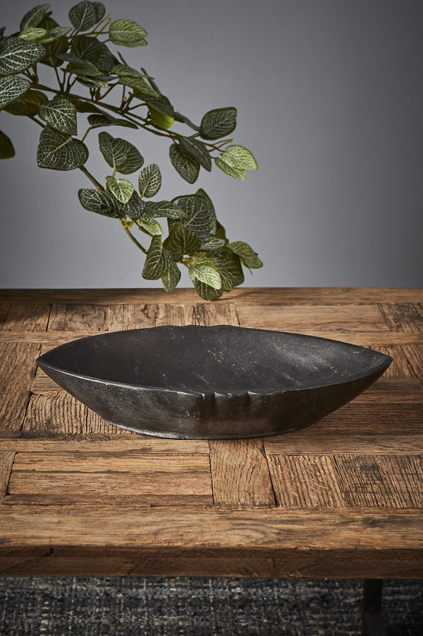 Boat Dish - Black - Pointed Oval Marble Dish