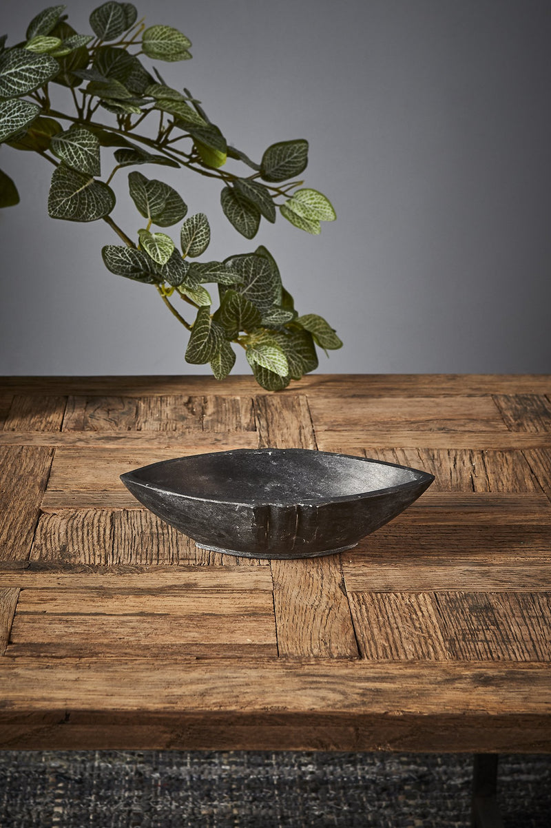 Boat Dish Small - Black - Pointed Oval Marble Dish
