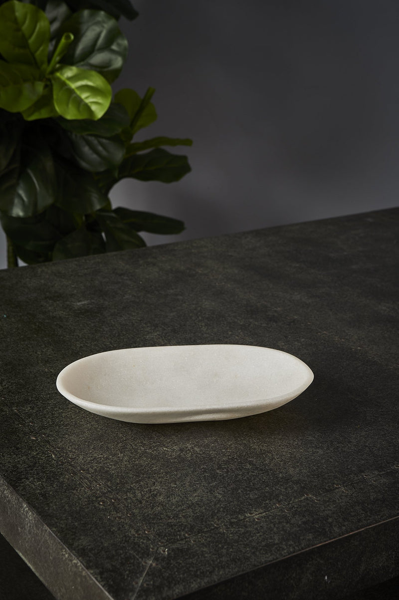 Jasmine Dish Medium - White - Oval Carved Marble Bowl
