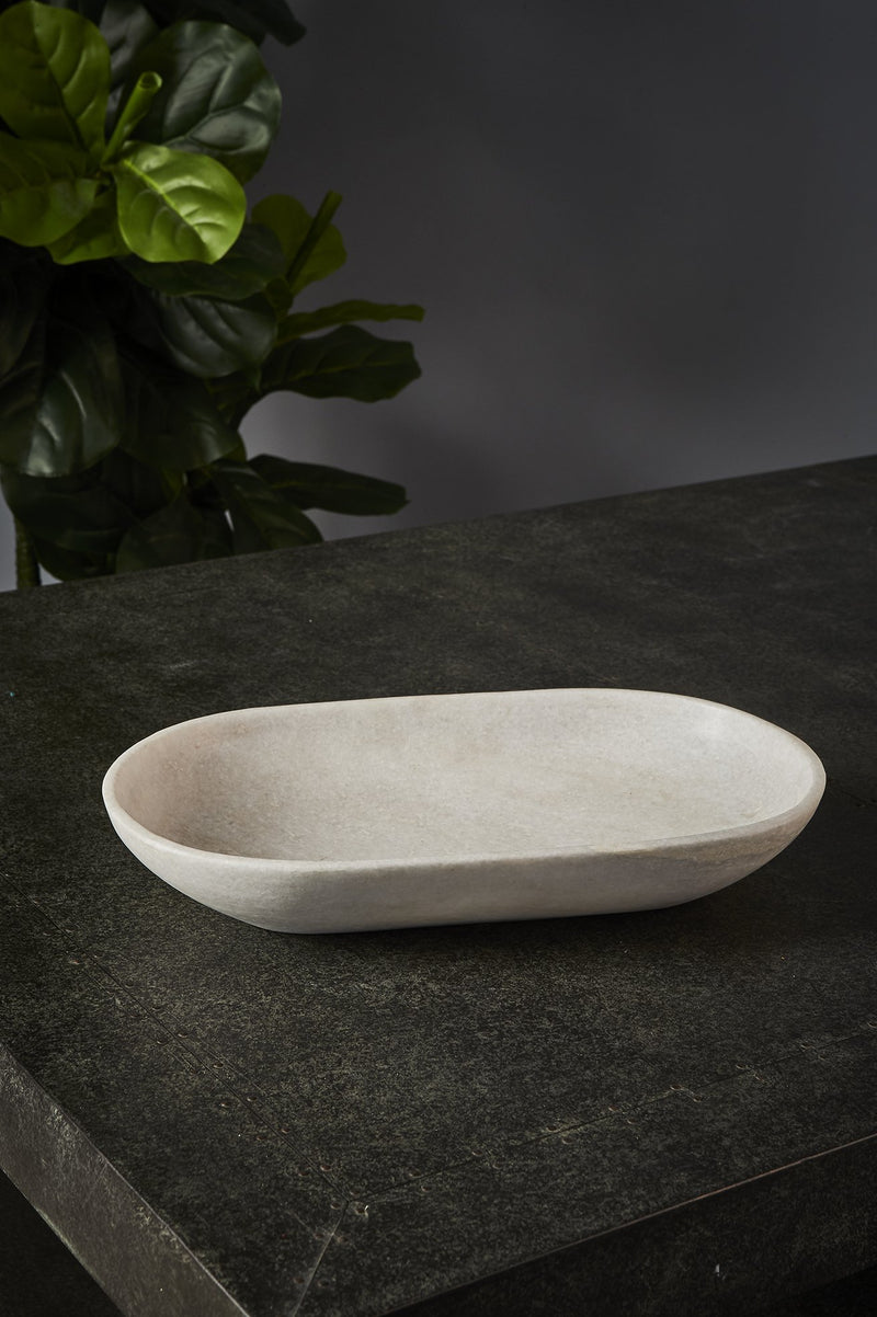 Jasmine Bowl Large - White - Round Carved Marble Bowl