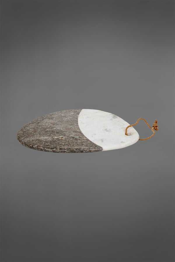 Cheeseboard Oval - White/Grey - Two-Tone Oval Marble Cheeseboard
