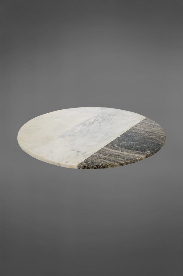 Cheese Plate Round - White/Grey - Two-Tone Round Marble Plate