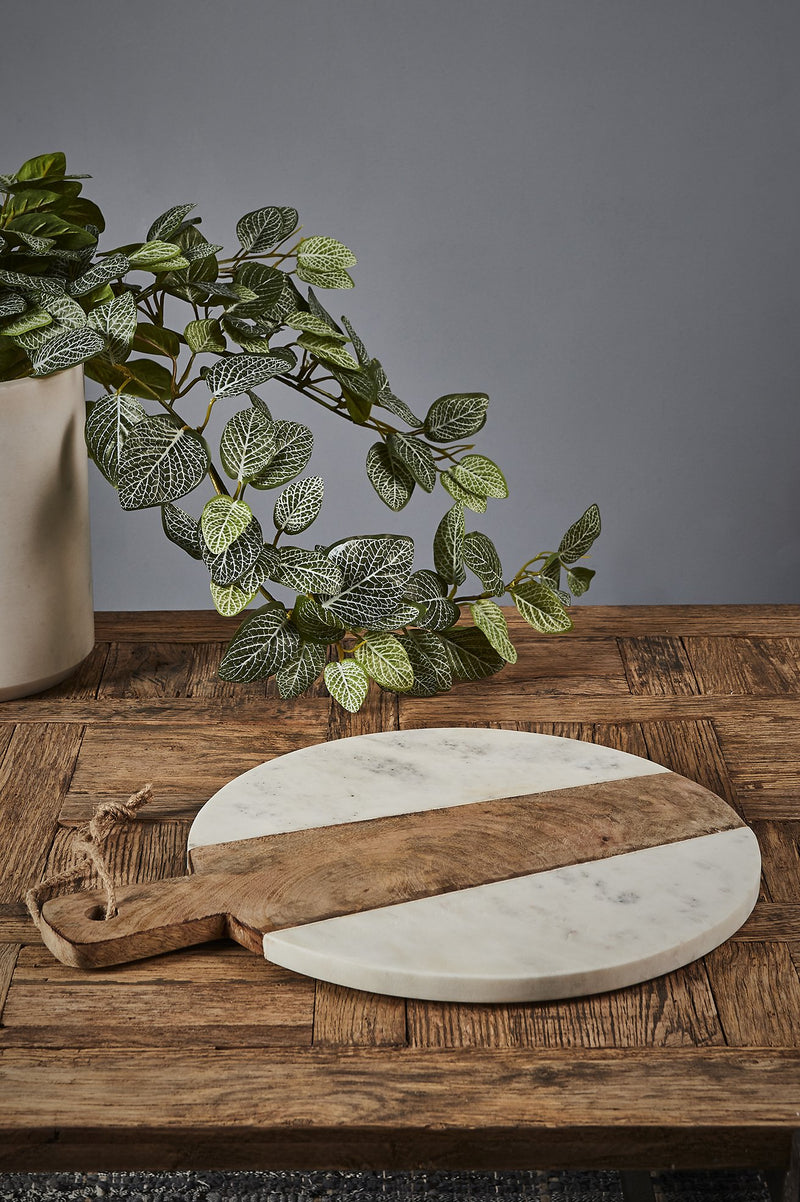 Cheeseboard Round - White/Natural - Round Wood and Marble Cheese Board