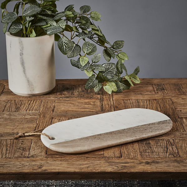 Cheeseboard Oblong - White/Natural - Oblong Wood and Marble Cheese Board
