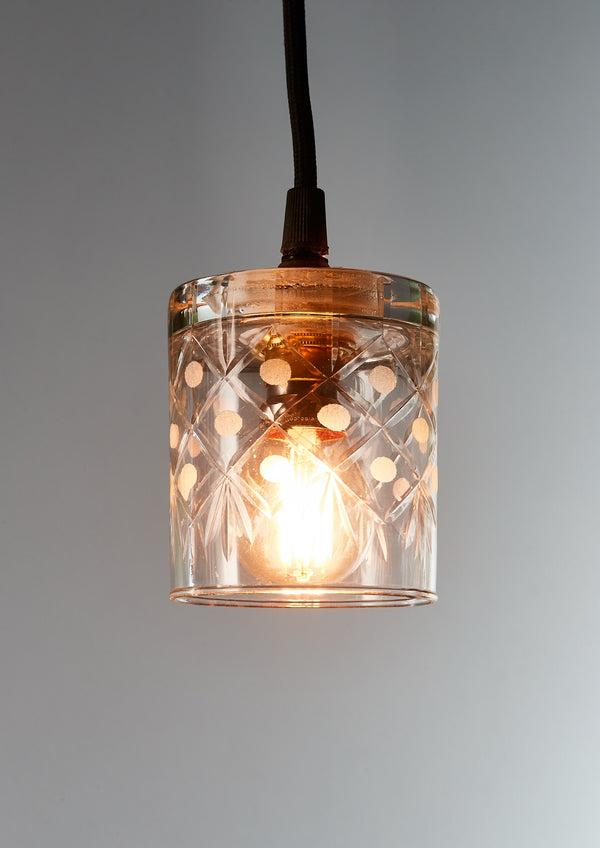 Scotch - Circle Diamond Clear - Hand Cut Scotch Glass Pendant Light