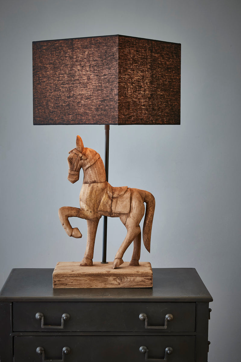 Clyde - Dark Natural - Large Wooden Horse Table Lamp