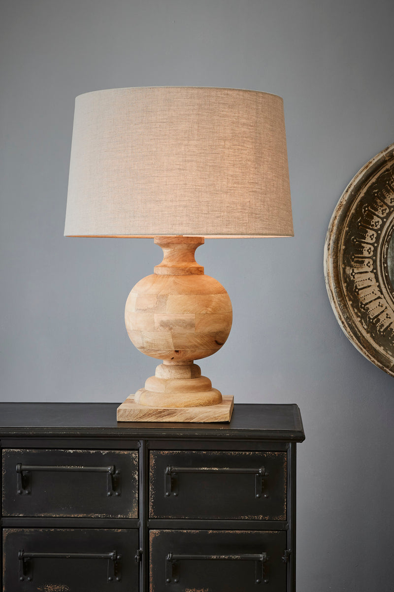 Coach - Natural - Turned Wood Ball Balustrade Table Lamp