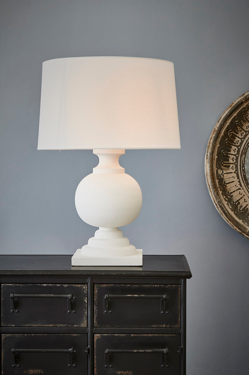 Coach - White - Turned Wood Ball Balustrade Table Lamp